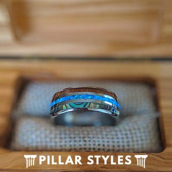 10mm Abalone and Blue Opal Ring Mens Wedding Band Koa Wood Ring