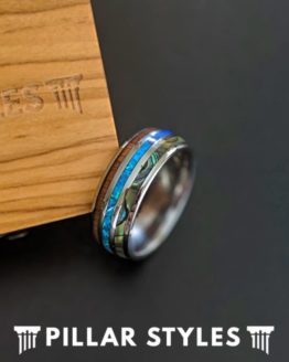 10mm Abalone and Blue Opal Ring Mens Wedding Band Koa Wood Ring