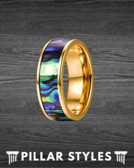 14K Gold Abalone Ring Tungsten Wedding Band Mens Ring