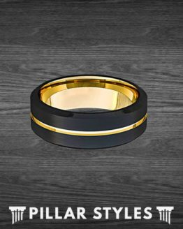 14K Gold Ring Beveled Edges Black Tungsten Ring Mens Wedding Band