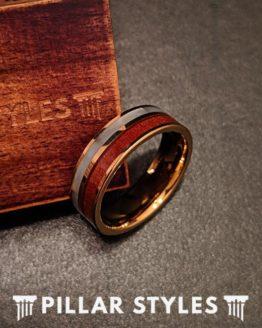 14K Gold Tungsten Wedding Band Koa Wood Ring with Abalone Shell Inlay