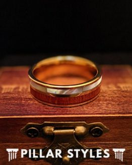 14K Gold Tungsten Wedding Band Koa Wood Ring with Abalone Shell Inlay