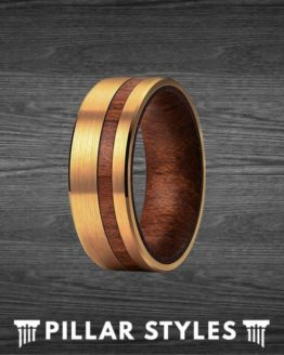 14K Gold Wedding Band Mens Ring Wood Inlay Tungsten Ring