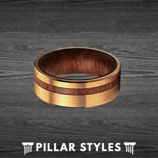 14K Gold Wedding Band Mens Ring Wood Inlay Tungsten Ring