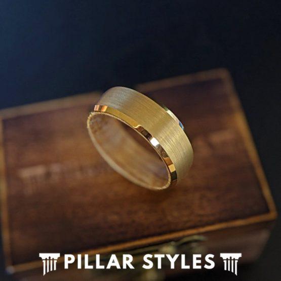 14K Gold Whiskey Barrel Ring Mens Wedding Band