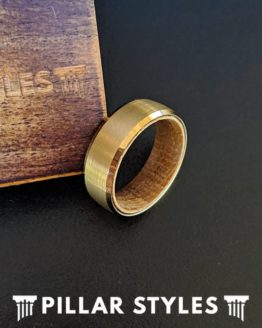 14K Gold Whiskey Barrel Ring Mens Wedding Band