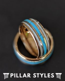 14K Rose Gold Wedding Band with Turquoise & Antler Inlay