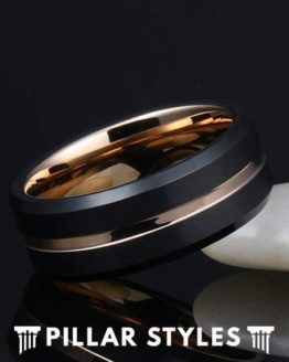 18K Rose Gold Tungsten Ring with Bevel Edges