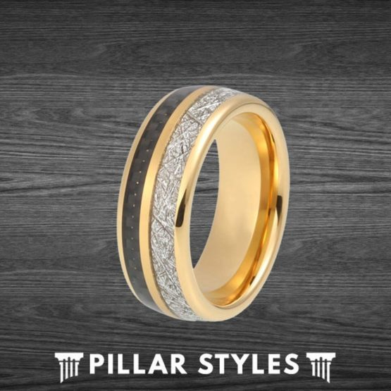 18K Gold Ring Mens Meteorite Ring with Carbon Fiber Inlay
