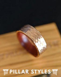 18K Rose Gold Hammered Ring Mens Wedding Band Koa Wood Ring