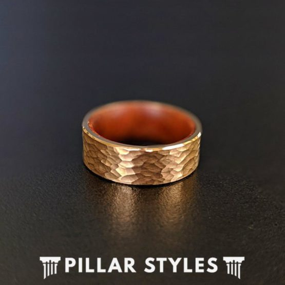18K Rose Gold Hammered Ring Mens Wedding Band Koa Wood Ring