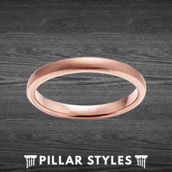 18K Rose Gold Ring 3mm Thin Wedding Band Womens Ring
