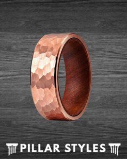 18K Rose Gold Ring Mens Wedding Band Koa Wood Ring