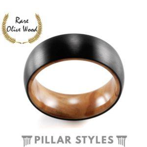 Black Titanium Premium Olive Wood Ring 8mm Mens Wedding Band