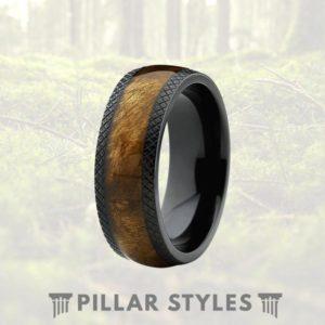 Wood Wedding Bands.Rare Marble Wood Mens Titanium Ring Black Titanium Wood Wedding Band