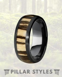 8mm Black Titanium Ring with Zebra Wood Inlay