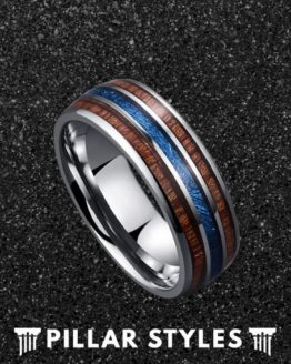 Hawaiian Koa Wood and Meteorite Mens Wedding Band