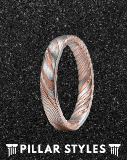 4mm Damascus Steel Rose Mens Wedding Band 3