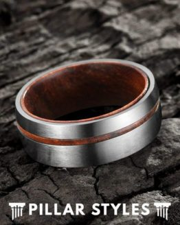 6mm & 8mm Titanium Mens Wedding Band with Koa Wood 1