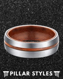 6mm & 8mm Titanium Mens Wedding Band with Koa Wood 3