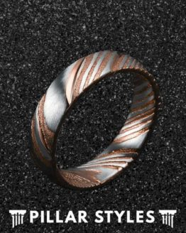 6mm Damascus Steel Rose Gold Mens Wedding Band 1