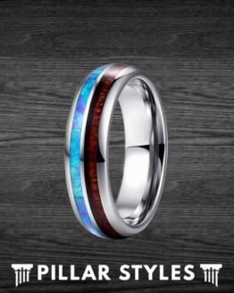 6mm Koa Wood & Blue Opal Mens Wedding Band 1