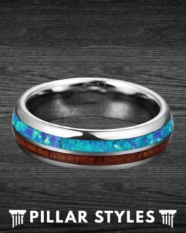 6mm Koa Wood & Blue Opal Mens Wedding Band 2