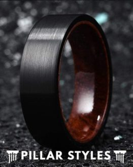 8mm Black Tungsten Wedding Band with Koa Wood Sleeve 1