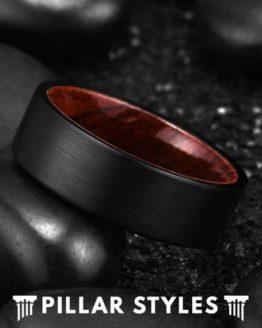 8mm Black Tungsten Wedding Band with Koa Wood Sleeve 2