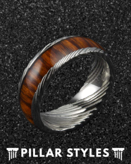 8mm Silver & Koa Wood Grain Damascus Steel Ebony Wood Inlay 2