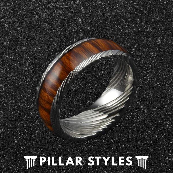 b056dc92c52ca Silver Damascus Steel Ring with Koa Wood Inlay