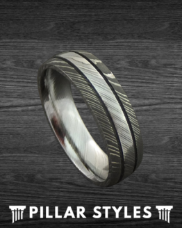 Damascus Steel Ring Gun Metal Grey Wedding Band