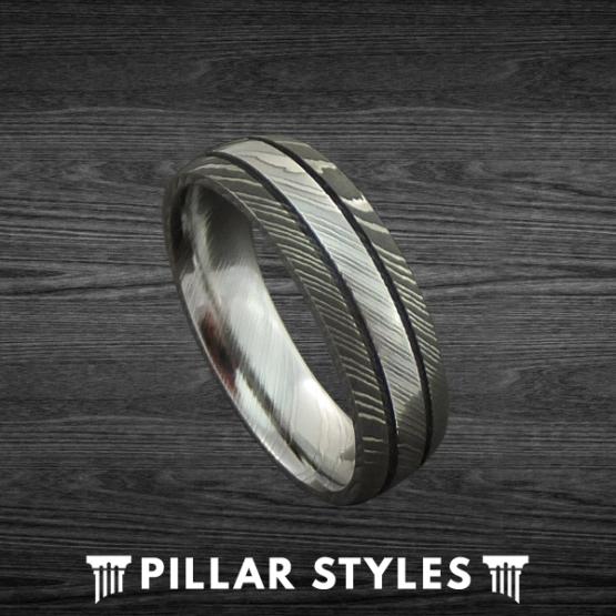 Damascus Steel Ring Gun Metal Grey Wedding Band
