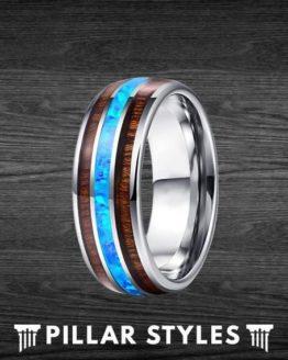 Mens Wedding Koa Wood Band & Blue Fire Opal Ring 1