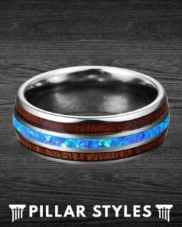 Mens Wedding Koa Wood Band & Blue Fire Opal Ring 2