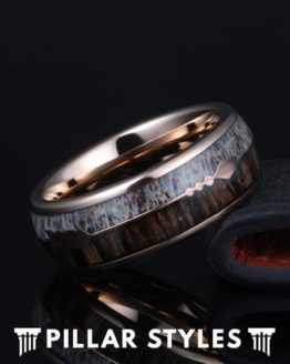 Wood & Deer Antler Wedding Band with Arrow Inlay 1