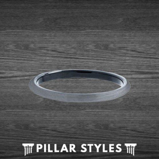 2mm Black & Gunmetal Gray Tungsten Ring Thin Wedding Bands