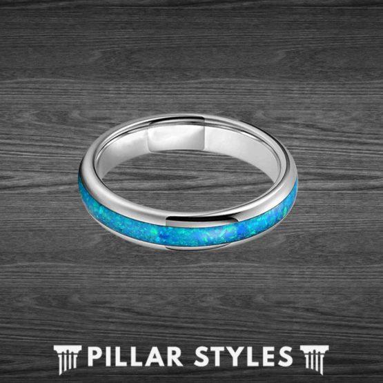 4mm Thin Blue Opal Ring Tungsten Wedding Bands