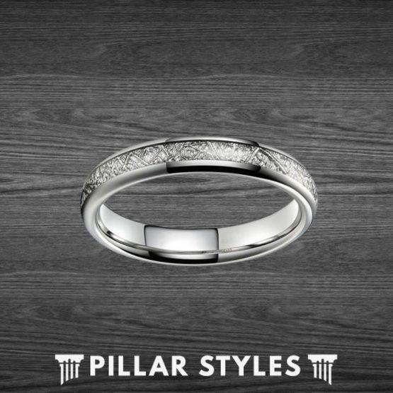 4mm Tungsten Meteorite Ring Thin Wedding Band