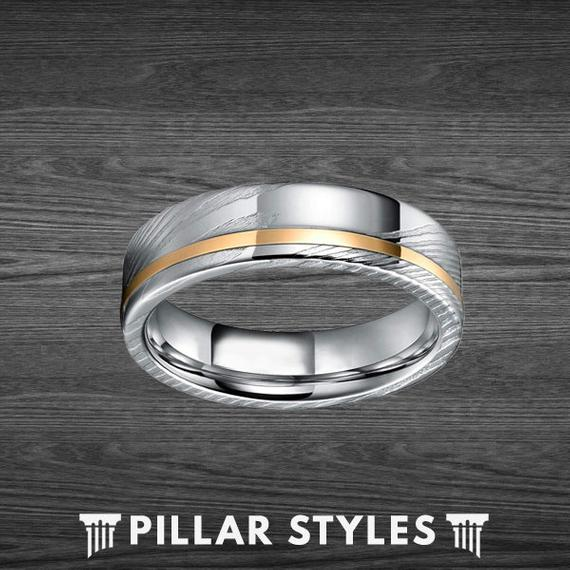 6mm & 8mm Damascus Ring with Rose Gold Inlay 1
