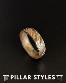 6mm Damascus Ring Mens Wedding Band Rose Gold Ring