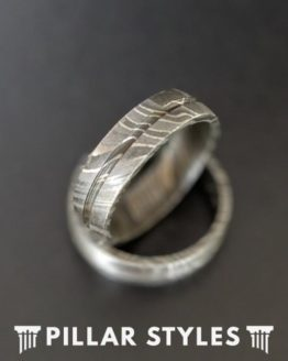 6mm Damascus Steel Ring Mens Wedding Band