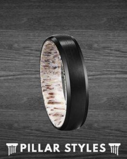 6mm Deer Antler Ring Beveled Black Tungsten Ring