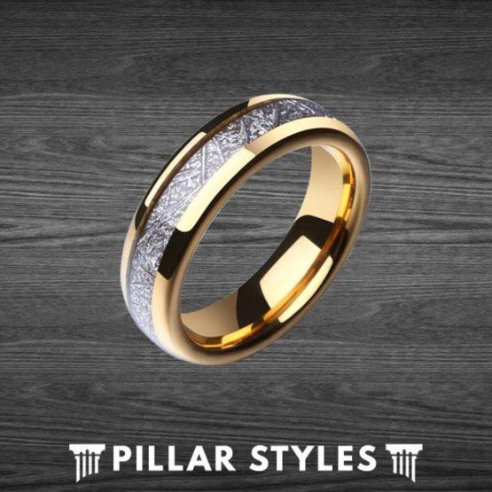 6mm Gold Meteorite Ring Tungsten Wedding Band Mens Ring
