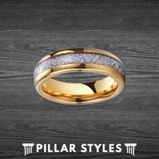 6mm Gold Meteorite Ring Tungsten Wedding Band Mens Ring