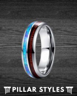 6mm Koa Wood and Blue Fire Opal Tungsten Wedding Bands