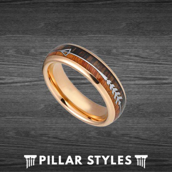 6mm Koa Wood Ring Mens Wedding Band Rose Gold Ring