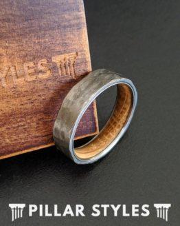 6mm Mens Whiskey Barrel Ring Silver Titanium Wedding Band