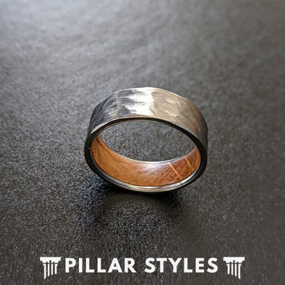 6mm Mens Whiskey Barrel Ring Silver Titanium Wedding Band