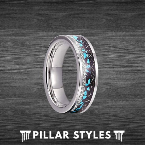 6mm Meteorite Ring Mens Wedding Band with Turquoise Inlay